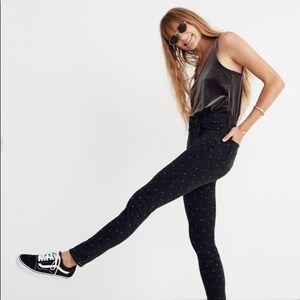 "9"" High-Rise Skinny Jeans: Metallic Dot Edition"